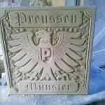Reliefplatte Preußen Münster Maße: 50 x 50 x 5cm Handarbeit Preis ca. 350,00€ Verkauf über den SCP Fanshop