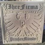 Gestaltungsbeispiel Reliefplatte Preußen Münster Maße: 50 x 50 x 5cm Handarbeit Preis ca. 350,00€ Verkauf über den SCP Fanshop