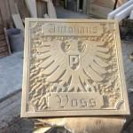 Preußen Münster/ Autohaus Voss Darfeld. Reliefplatte für die neue Oldtimerhalle. 75x75x6cm Baumberger Sandstein, Handarbeit.